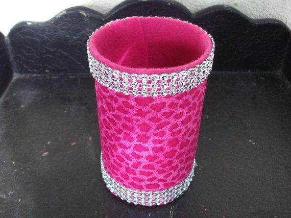 Hot Pink Cheetah Print with Rhinestone Trim Pencil/Makeup brush/Silverware Holder