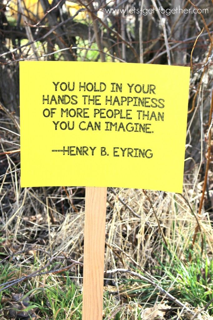 Girls Camp Hike - put signs on long the way with inspiring service quotes - can stop and share brief interesting story