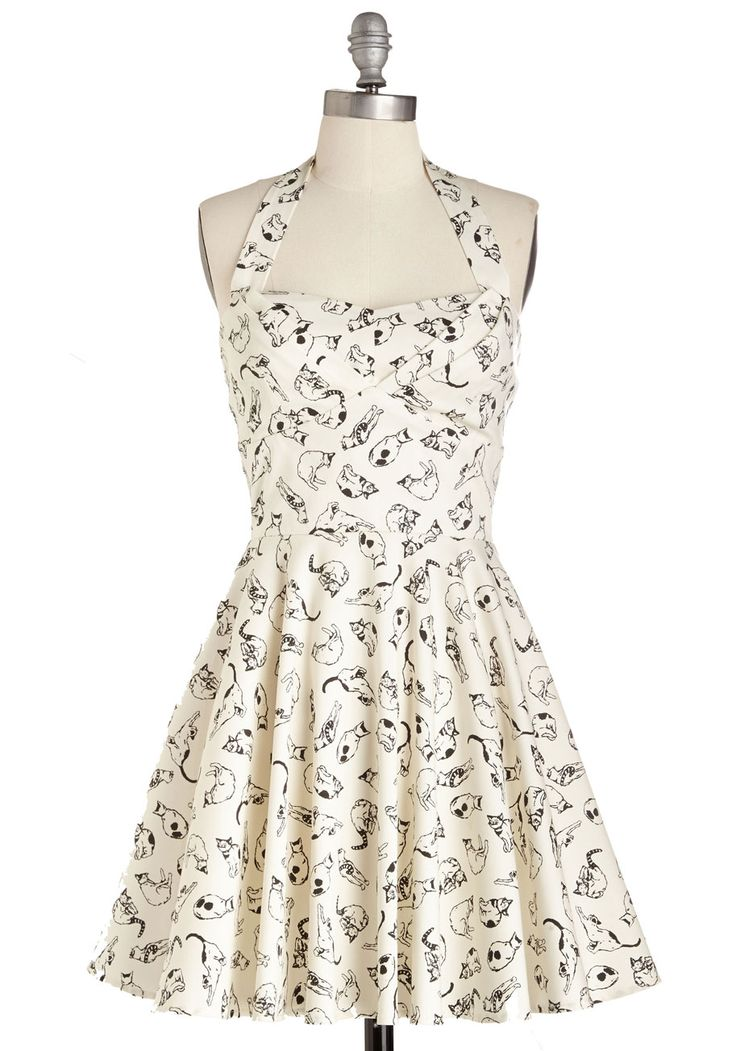 Traveling Cupcake Truck Dress In Cats Mod Retro Vintage