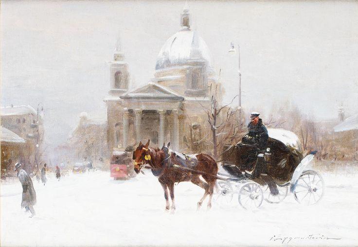 IGNACY ZYGMUNTOWICZ (1875 - 1947)  ZIMA NA PLACU TRZECH KRZYŻY   olej, płótno, / 34x49 cm