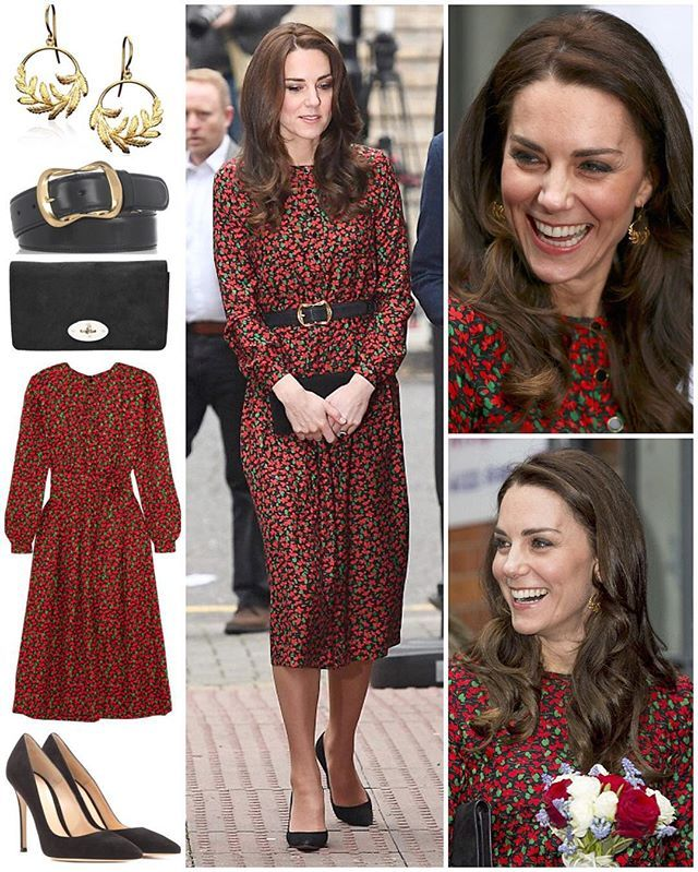 The Duchess looked very festive today as she attended her final official engagement of the year.  Kate opted for another new label today, choosing a piece by French fashion designer Vanessa Seward. She wore the 'Cai' floral-print dress featuring red, green and black silk-jacquard, side slit pockets and a button-fastening neckline. Originally $1,245, it is now down to $623/£432 at Net-A-Porter.  The rest of her outfit involved familiar pieces: around her waist was her Alexander McQueen black…