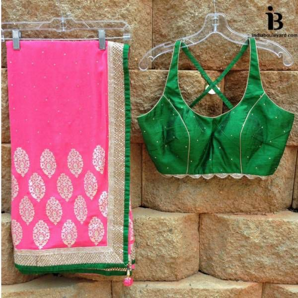 Fashion Friday with Sarees this week, second emerald green backless blouse with a hot pink saree. For all prices and inquries, please email us at inquiries@indiaboulevard.com or visit us at indiaboulevard.com #indiancouture #desicouture #indianwear #desifashion #indianfashion #fashionista #customindianwear #allthingsindian #newdesigners #lehenga #bridal #indianembroidery #couture #ootd #aw15 #igers #instagood #asianbride #bollywood #autumn #anarkli #skirt #love #stunning #amazing #indiaboule