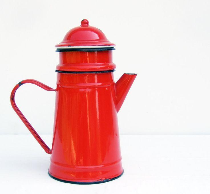Enamelware Biggin French Vintage RED Coffee pot.