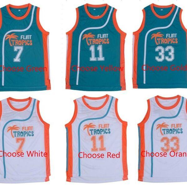 Semi Pro Jackie Moon 33 Flint Tropics White Basketball Jersey S M L XL XXL