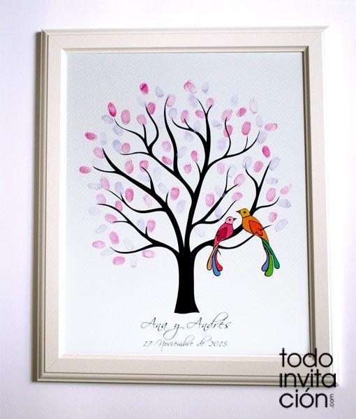 Cuadro de árbol de huellas para que tus invitados de tu boda dejen su huella y su firma. Árbol de huellas para bodas con aves del paraíso. Lámina personalizada con la ilustración del árbol , nombres y fecha de la boda