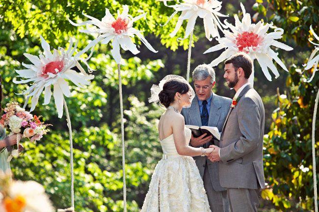 giant paper flowers wedding backdrop ceremony