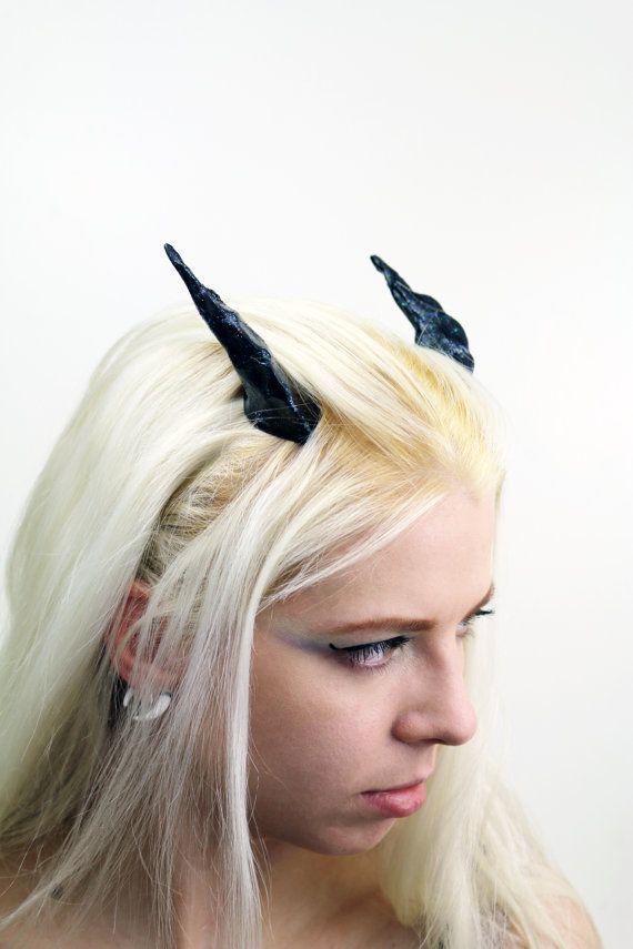 Glitter Black Dragon Costume Horns