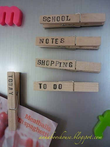 Stamped clothespin magnets. For organizing fridge nonsense.