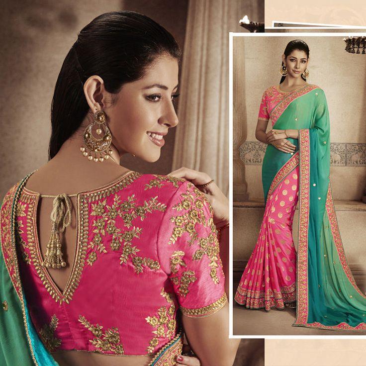 bollywood indian pakistani embroidered work saree sari wedding bridal for women #Shoppingover #Saree