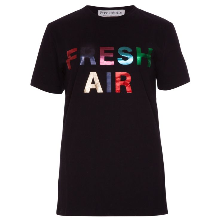 Etre Cicile Fresh Air T-shirt in Black - t-shirt in black with multi-coloured foil print Fresh Air motif. http://the-counter.com/womens/fresh-air-t-shirt-in-black