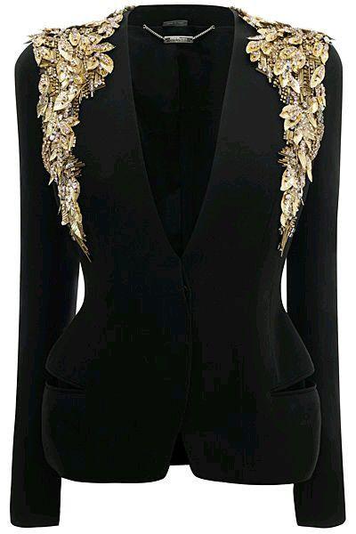 Black Blazer/Embellished/Gold Leaf/Alexander McQueen.