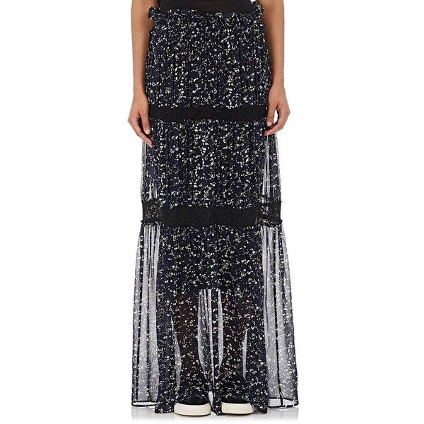 Robert Rodriguez Women's Appliquéd Chiffon Tiered Maxi Skirt ($249) ❤ liked on Polyvore featuring skirts, blue, long pleated skirt, blue pleated maxi skirt, floral maxi skirt, maxi skirts and chiffon maxi skirts