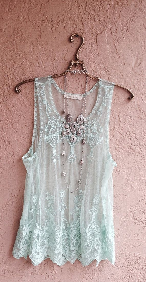 Mint Green Sheer embroidered Camisole with bohemian by BohoAngels, $60.00