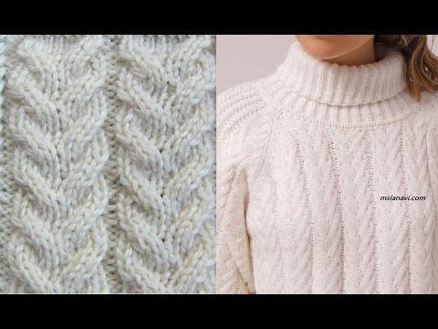 Узор араны спицами для модного пуловера. Как связать араны спицами. Узоры араны спицами - YouTube