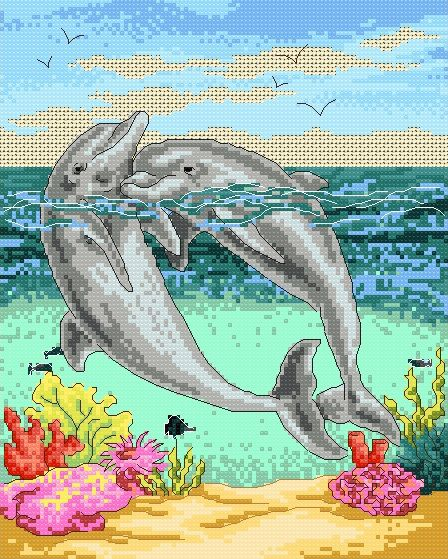 Free Dolphin Pattern | Maria Diaz Designs: Dolphins (Cross-stitch chart)