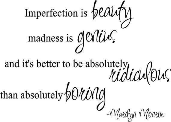 Marilyn Monroe Quotes | Imperfection is Beauty Marilyn Monroe Quote by madebytheresarenee