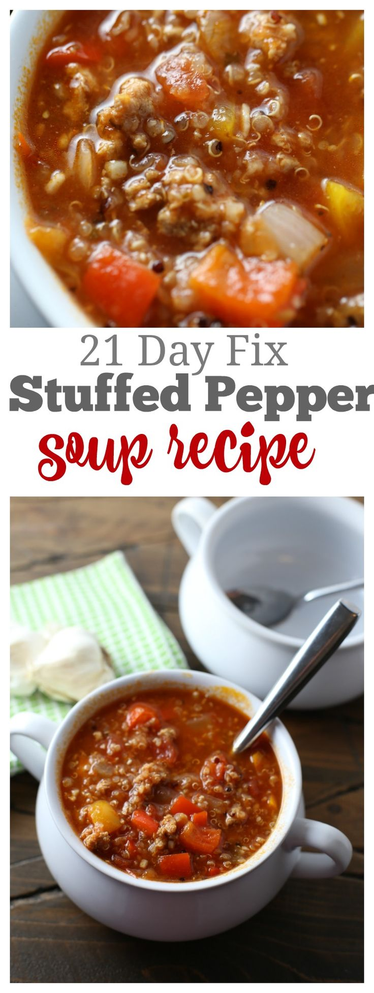 21 Day Fix Stuffed Pepper Soup that your whole family will LOVE! Containers: 1R, 1G, .5Y