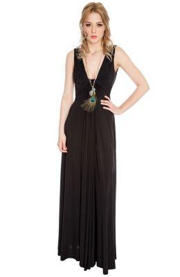 Neformálne letné dlhé šaty Draped Grecian Column Panel Maxi