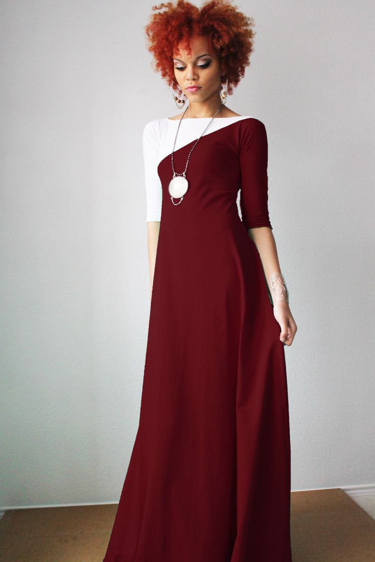 SALE Maroon and White 3/4 Sleeve Maxi Dress by Dimiloc on Etsy https://www.etsy.com/listing/198136066/sale-maroon-and-white-34-sleeve-maxi