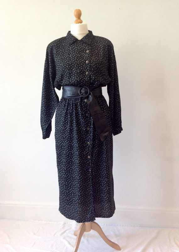 Vintage 80s 1980s Black Shirt Dress Aztec Office by baileysbits