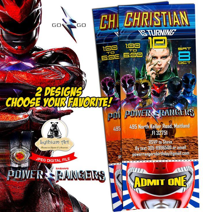 Power Rangers Ticket Invitation - Power Rangers Printable Invitation - Power Rangers Invitation - Power Ranger Party - Power Ranger Birthday de LythiumArt en Etsy