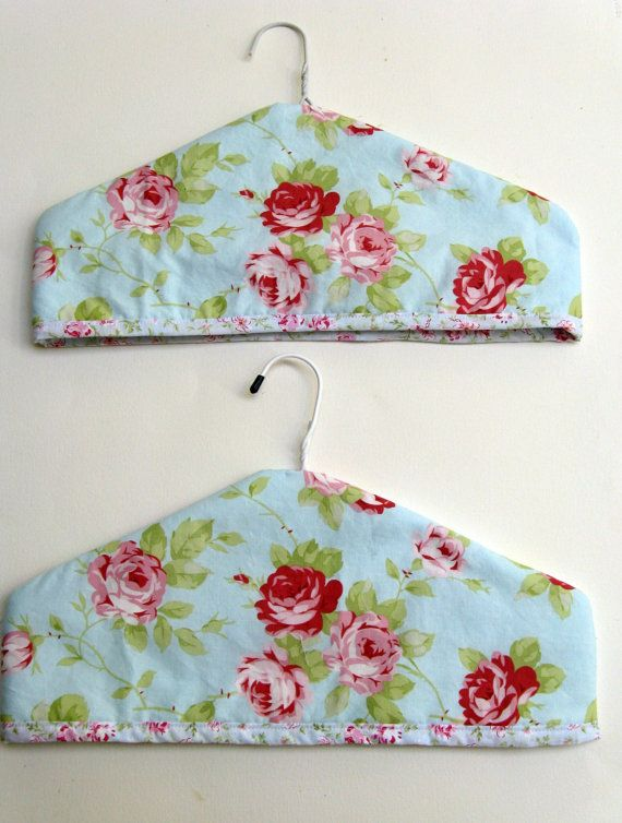 Shabby Chic Coat Hanger Covers.  Padded coat by SewnWithPassion