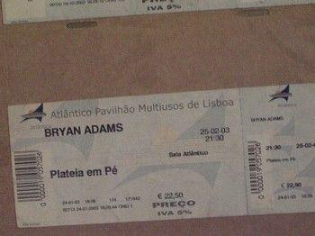 Bilhete Bryan Adams