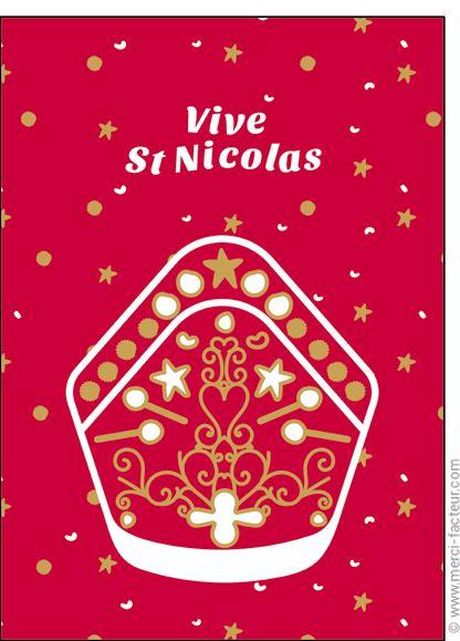 #Carte #SaintNicolas #stNicolas Carte Le chapeau de Saint Nicolas pour envoyer par La Poste, sur Merci-Facteur !