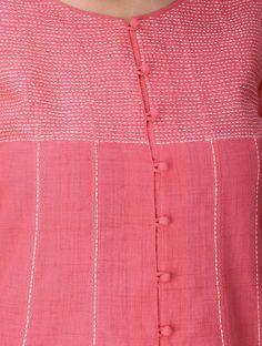 Pink Front Slit Cotton Kurta with Tanka Work