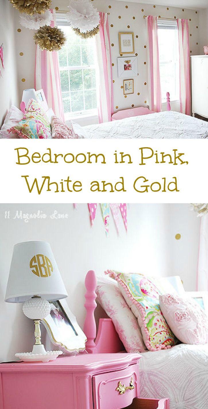 Girl 39 s room in pink white gold decor girls white gold and little girl rooms - White and gold room decor ...