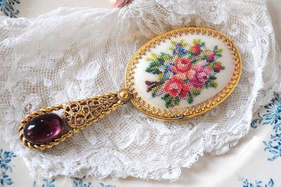 antique victorian petit point jeweled hand mirror