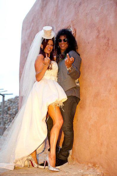 Slash Photo Slash And Perla Guns N Roses Ibiza Wedding Rain Dress