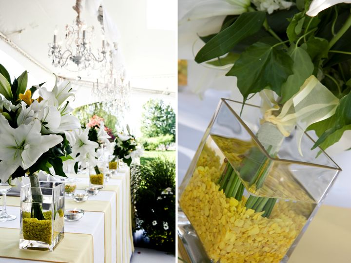 Tented Wedding Venue With Luxe Chandeliers And Citrus Inspired Wedding Decor