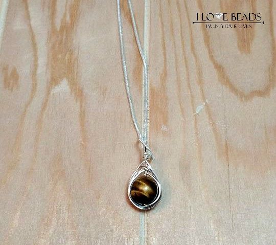 tigers eye herringbone weaved necklace-tigers eye by ILoveBeads247