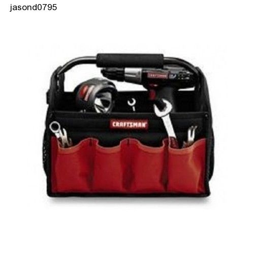 Craftsman tool kit 12 in Tools Bag  Red with pockets metal tape measure clip