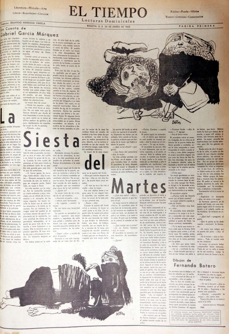 El maestro Fernando Botero ilustró el cuento 'La siesta del martes' de Gabriel García Márquez, publicado el 24 de enero de 1960 en EL TIEMPO.