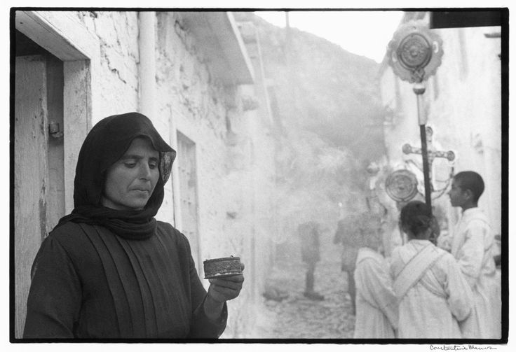 Constantine Manos 1964 Greece. Crete. 1964. Woman at Easter procession.