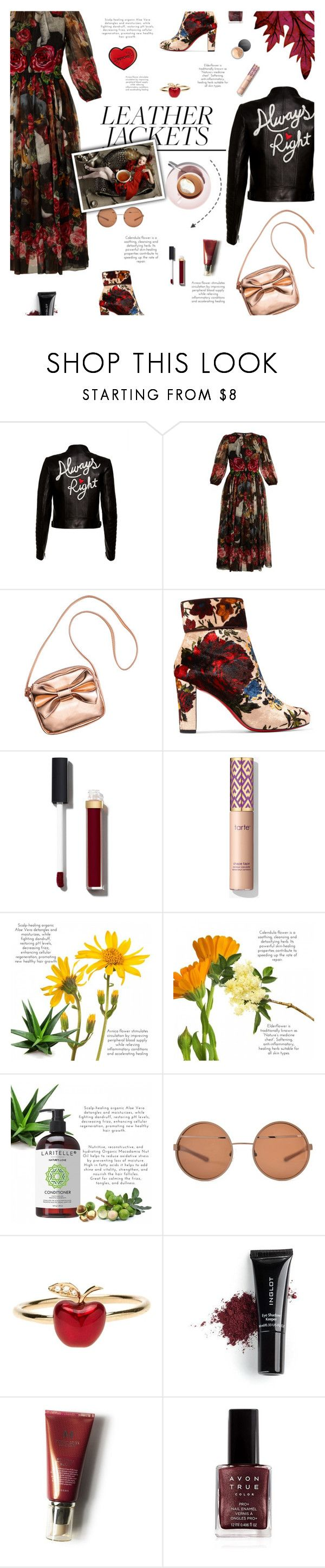 """""""Leather Jackets & Floral Prints"""" by yoa316 ❤ liked on Polyvore featuring Alice + Olivia, Dolce&Gabbana, Christian Louboutin, Chanel, Alison Lou, Inglot, Avon, Bare Escentuals and leatherjackets"""