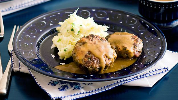 Beef and bacon rissoles with gravy and cabbage mash recipe - 9Kitchen