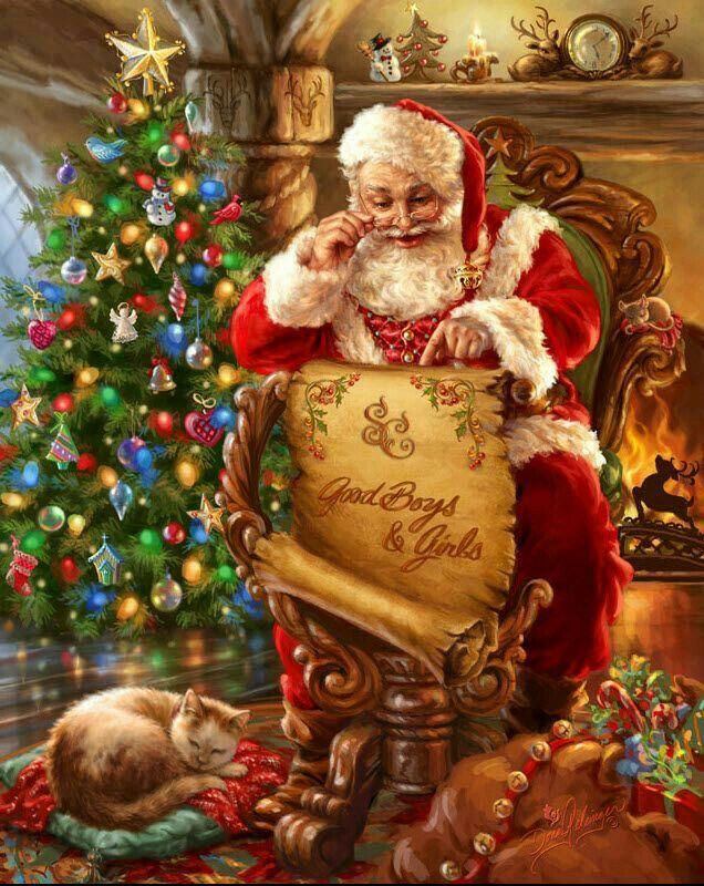 Immagini Babbo Natale Vintage.Babbo Natale Legge La Lista Dei Bambini Buoni E Il Gatto
