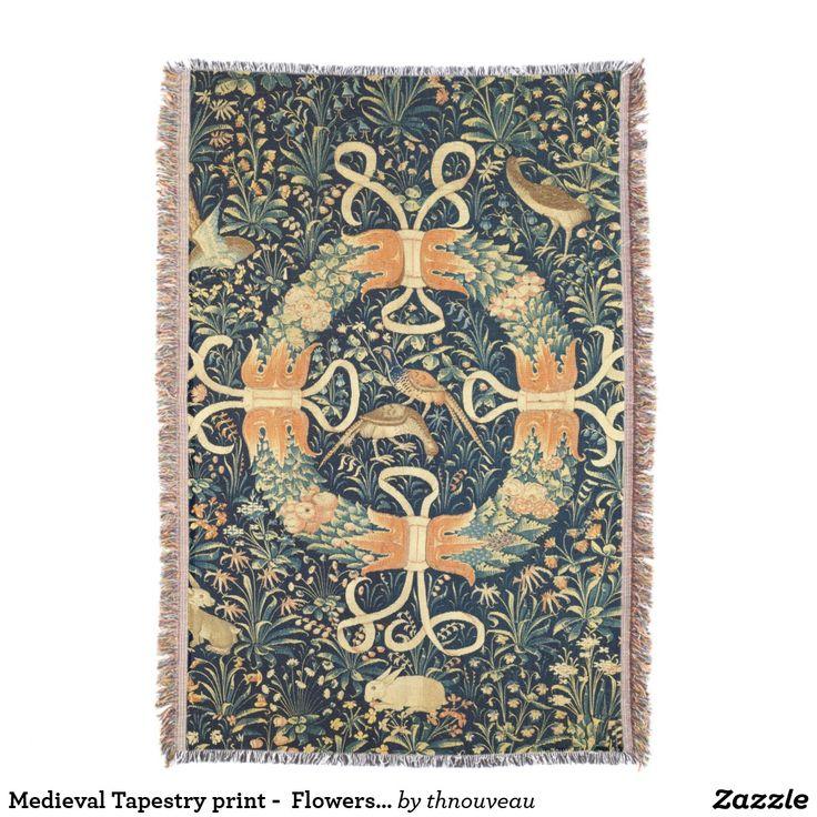 Medieval Tapestry print -  Flowers, Birds, Rabbits Throw Blanket