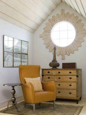 """Starburst"" trim around a window #windows: Round Window, Little Green Notebook, Green Notebooks, Attic Rooms, Window Trim, Window Treatments, Yellow Chairs, Leather Chairs, Window Frames"