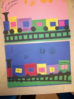 Kindergarten Shape trains. This could be adapted for color or patterns as well.