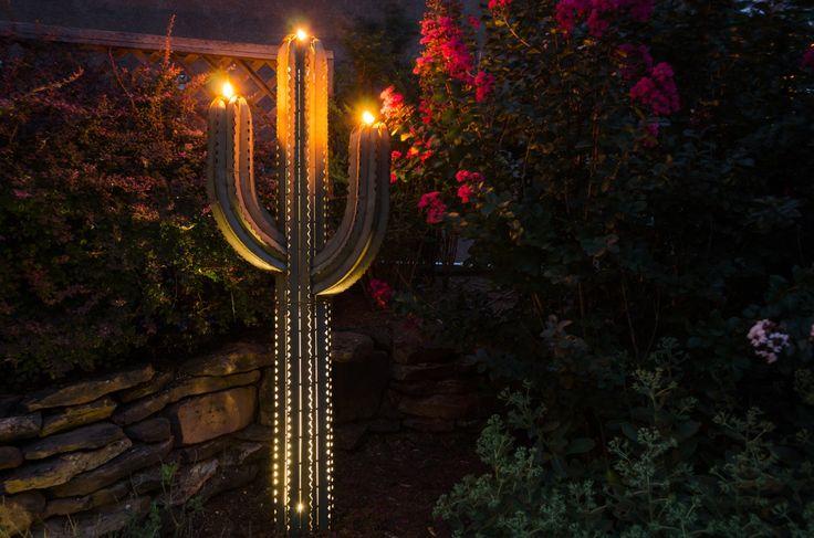 Saguaro Cactus Garden Torch at Night