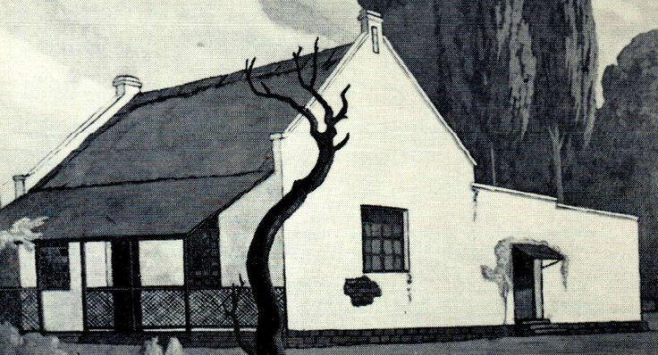 Early Republican house that stood in Pretoria, built in the vernacular Cape-Dutch architecture. This illustration was made in 1931 by South-African artist JH Pierneef