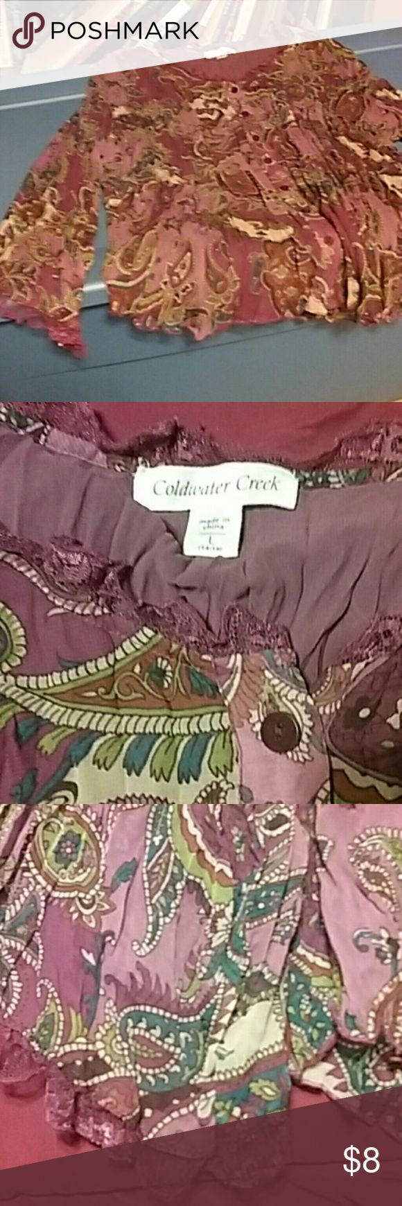 Paisley design peasant look shirt size large plum, Cold water creek paisley designed, plum,green,and cream colors beautiful. Coldwater Creek Tops Blouses