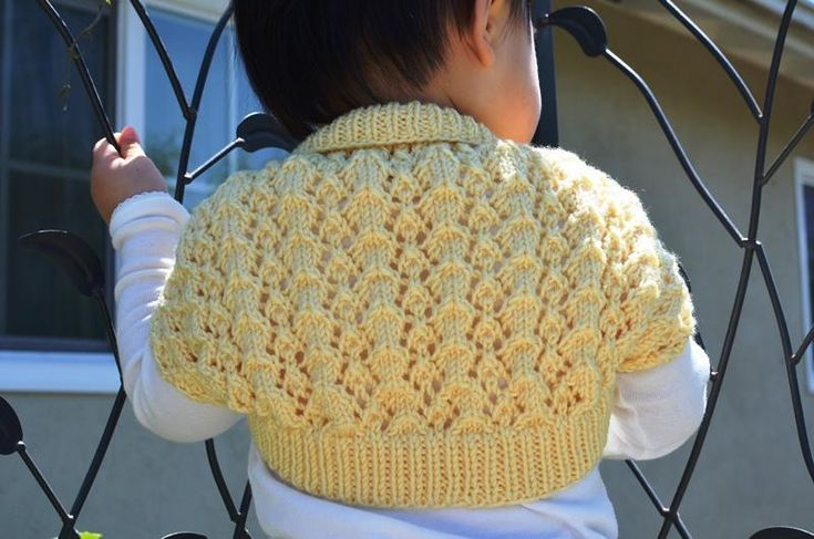 Knitting Baby Blankets Patterns : Free knitting pattern for Easy and Lacy Baby Bolero knit in a rectangle and s...