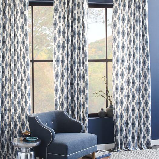 """Cotton Canvas Bazaar Curtain, 48""""x84"""", Belgium Blue, no longer available online"""