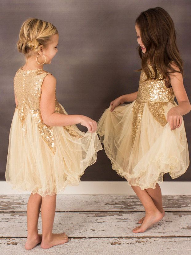 Gold Sequin and Tulle Dress Toddler Girls' by SugarandSnailCouture