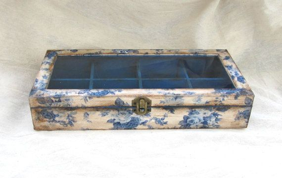 Floral decoupage box with glass lid and dividers by ArtandWoodShop